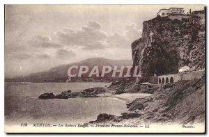 Postcard Old Red Rocks Menton Border Italian Franco