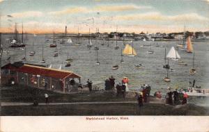 Marblehead MA Sailboats Dot Harbor~Dock Looks Like Dutgout 1907 UDB Ti Cosseboom