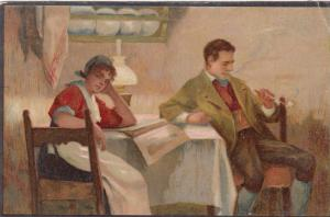 TUCK 588 ; Art Series , PU-1904 : Couple at table