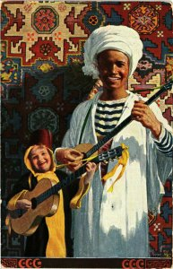 PC CPA ARABIAN TYPES AND SCENES,BOYS WITH THEIR INSTRUMENTS, (b17386)