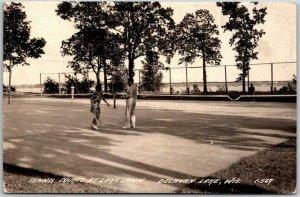 DELAVAN LAKE, Wisconsin RPPC Photo Postcard Tennis Courts at LAKE LAWN 1945