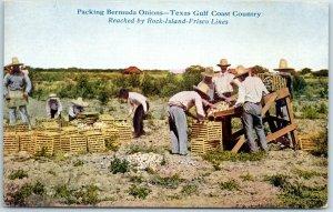 1910s Texas Farming Postcard Packing Bermuda Onions Rock Island-Frisco Lines