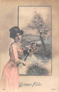 Bonne Fete, Birthday, lady roses bouquet, glamour 1911
