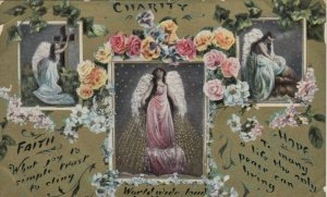 Three Angels named FAITH, CHARITY & HOPE, Roses, 1900-10s
