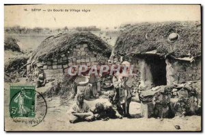 Old Postcard Algeria Setif A shabby village negro