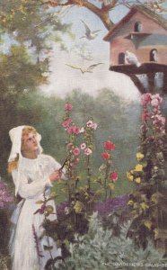 All In A Garden Fair, Girl Triming Flowers And Watching Some Birds, TUCK No.9...