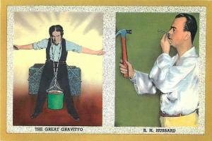 The Great Gravityo and R.H. Hubbard Sideshow Freak Modern Postcard