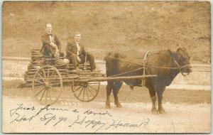 1908 Hot Springs, Arkansas RPPC Photo Postcard 2 Men in Cart / Booneville Cancel