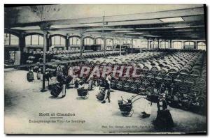 Old Postcard Folklore Wine Harvest Champagne Moet & Chandon wines Storage Rac...