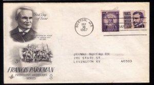1967 US Sc #1281 FDC Francis ParkmanGood Condition.