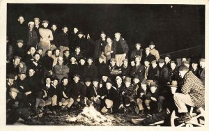 RPPC College Students? Campfire Camping Group Photo c1910s Vintage Postcard