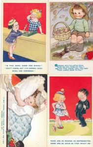 Boy Sweeping Broomstick Cosy Bed Child Vicar & MORE 4x Cute Comic Old Postcard s