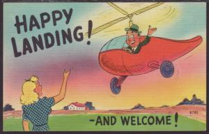 Happy Landing and Welcome,Man Flying Helicoptor,Comic