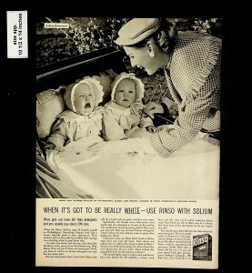 1953 Rinso Baby Laundry Mallen Twins Philadelphia Vintage Print Ad 015734
