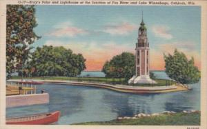 Wisconsin Oshkosh Bray's Point & Lighthouse At Junction Of Fox River and Lake...