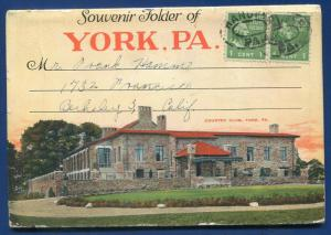 York Pennsylvania pa Continental Square 1930s postcard folder #2