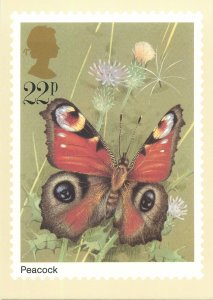 British stamp on Postcard Butterflies Peacock by Gordon Beningfield