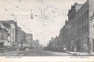 Oklahoma City~Main Street~Hotel~Kennedy's Dry Goods Store~Electric Light~1908
