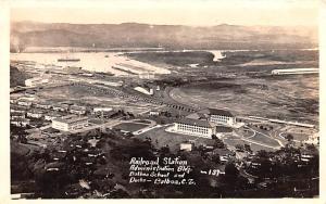 Panama Old Vintage Antique Post Card Railroad Station Balboa School  Real Pho...