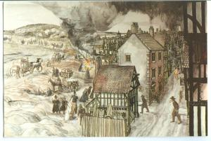 Coach leaving plague stricken London, Painting by James Ford, Eyam Museum