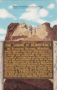 BLACK HILLS of South Dakota, 30-40s; Mount Rushmore National Memorial