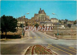 Modern Postcard Mayenne the Pont Notre Dame Basilica and the Castle