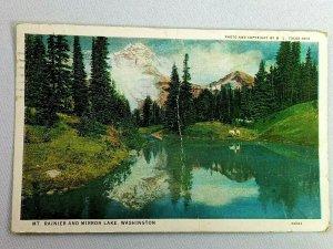 Vintage Postcard Mt. Rainier and Mirror Lake Scene Washington Posted 1931