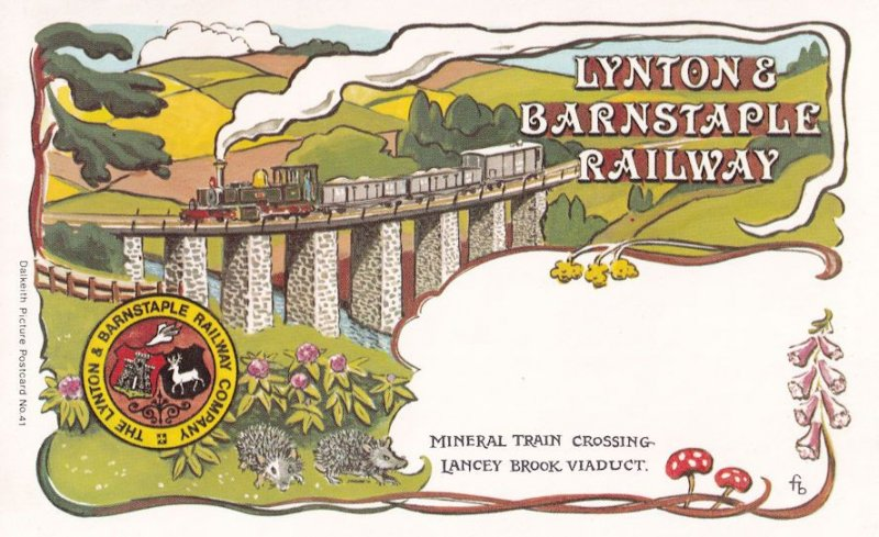 Lynton Barnstaple Railway Lancey Tree Viaduct Bridge Postcard