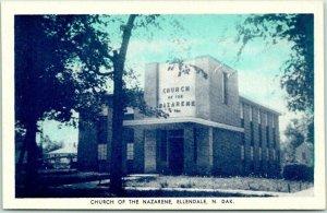 Ellendale, North Dakota Postcard Church of the Nazarene Street View Rexall