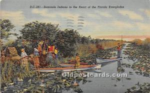 Seminole Indians Florida Everglades, FL, USA Indian 1952 light postal marking...