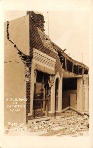 RPPC Compton, California Earthquake Damage Austin Studios Vintage Postcard 1933