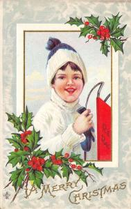 Christmas~Boy With Red Racer Sled~White Turtleneck & Stocking Cap~Emboss~241 F