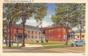 Johnstown New York~Fulton County Jail~House Next Door~1930s Cars~Linen Postcard