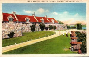 New York Fort Ticonderoga South Barracks From The Flag Bastion 1938 Curteich