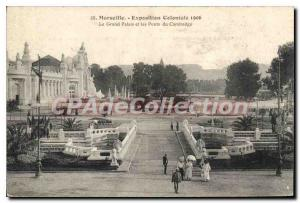 Old Postcard Marseille Expendition Colonial Grand Palace and the Bridge of Ca...