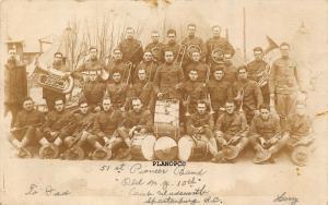 SPARTANBURG, SOUTH CAROLINA 51st PIONEER BAND, CAMP WADSWORTH RPPC REAL PHOTO