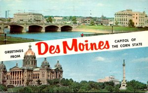 Iowa Des Moines Greetings From The Capitol Of The Corn State 1956
