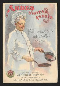 VICTORIAN TRADE CARD Andes Stoves & Ranges Man Chef & Frying Pan c/late 1800s