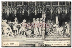 Old Postcard The Crucifixion By Simon Maxieres Mary sitting contemplate Jesus...