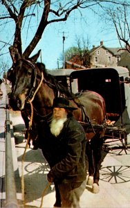 Ohio Amish Country Amish Man Hitching His Horse and Wagon In Front Of General...