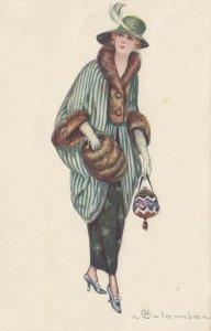 Art Deco ; COLOMBO , Female Fashion Portrait , 1910-30s