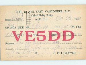 1930s QSL RADIO CARD Vancouver British Columbia BC AH3158