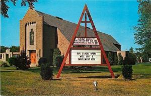 Cleveland Ohio~Church Diversa Sign Advertising~Spire~1950s Postcard
