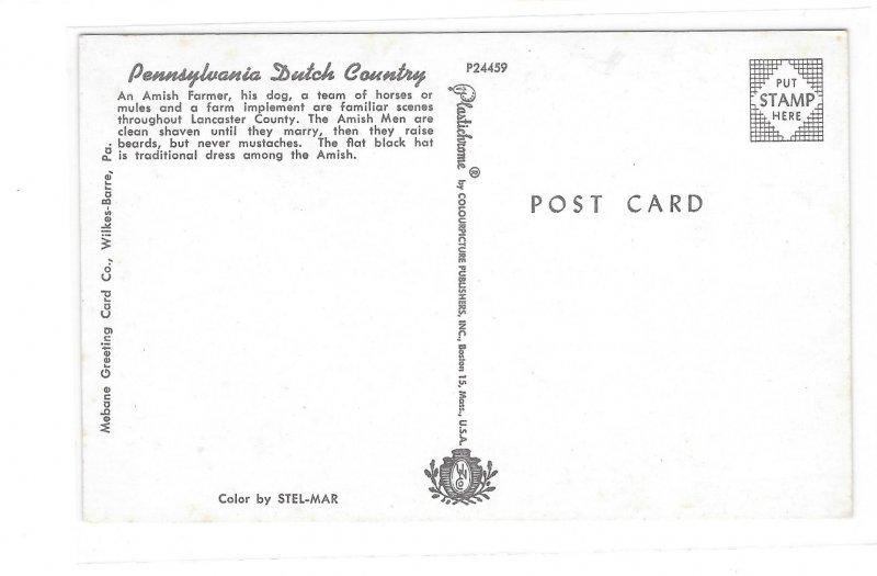 Amish Farmer Superior Planting Equipment Pennsylvania Dutch Country Postcard