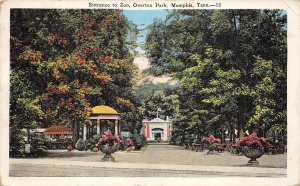 Memphis Tennessee 1928 Postcard Entrance to ZOO Overton Park