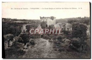 Old Postcard surroundings Tonquedec Lannion Grand Dungeon and Interior of Cas...