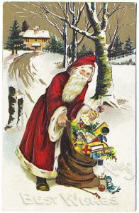 Red Robed Santa Claus with Toys Best Christmas Wishes in Snow Postcard