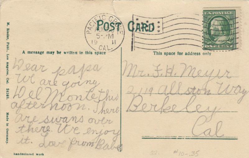 PACIFIC GROVE , California , PU-1911 ; Railroad Tracks