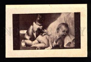 033197 Family of PUG & Baby. Mops. Vintage russian PC