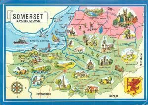 Somerset & parts of Avon uk map postcard